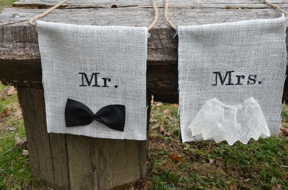Embroidered Burlap Rustic Wedding Mr and Mrs banners for wedding reception chairs