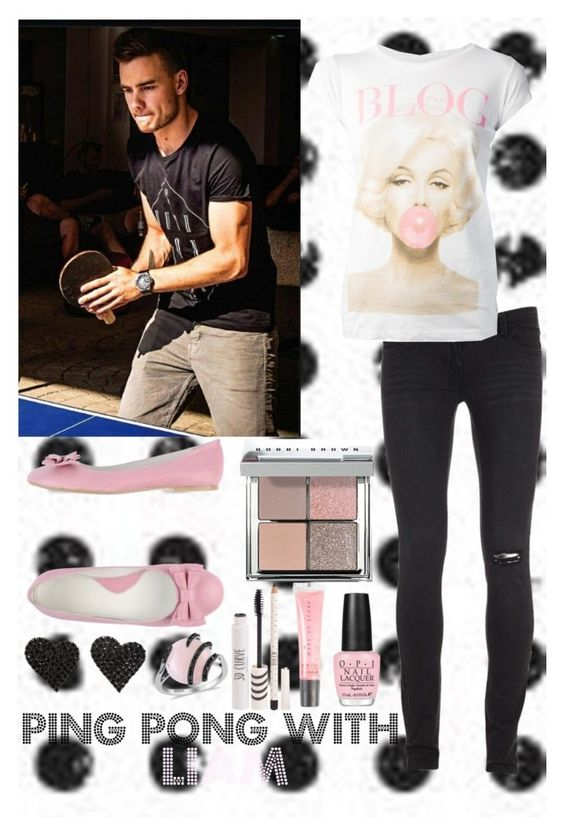 """Ping Pong with Liam"" by imagine-1d-outfits ❤ liked on Polyvore featuring Payne, TeeTrend, PAOLA FERRI, Bobbi Brown Cosmetics, OPI, MAKE UP STORE and Topshop"