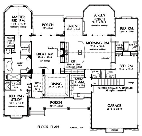 First Floor Plan of The Clarkson House Plan Number 1117 One