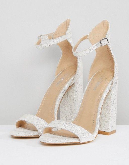 Be Mine Be Mine Bridal Laurel White Glitter Block Heeled Sandals Wedding Shoes Heels Bride Heels White Sandals Heels