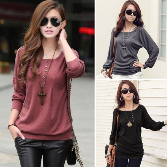 Feminina Batwing Sleeve Outono Inverno Camisa base Quente Shirt
