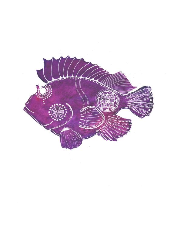 MagaMerlina ~ Violet Scorpion Fish Archival Art Print via Etsy.: