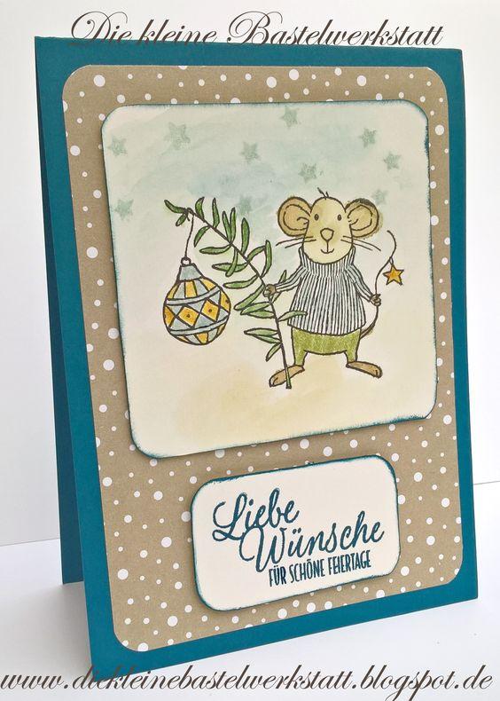 Stampin up Weihnachtskarte Festtagsmäuse Designerpapier Zuckerstangenzauber aquarellieren Kinder