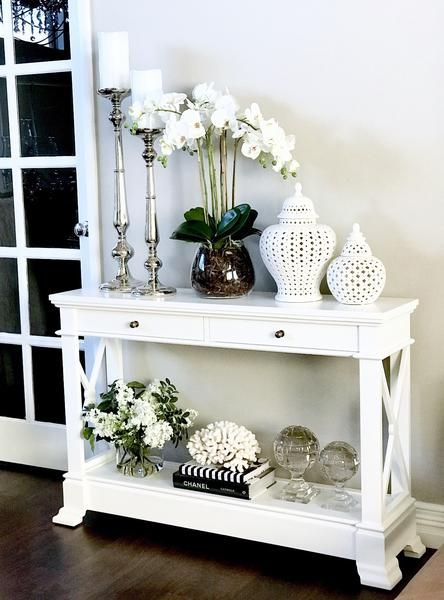 Bayview Console Hall Table In White Hall Table Decor Hall Decor Dining Table Decor