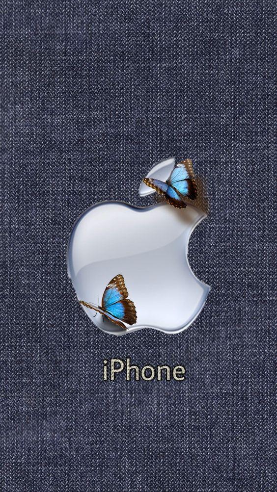 アップルマークと蝶のおしゃれでかっこいいスマホ壁紙