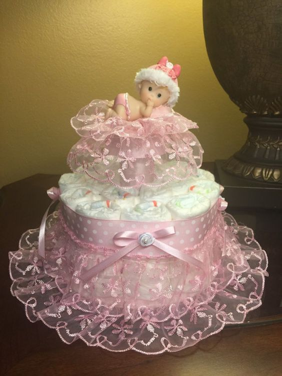Elegant diaper cake for baby girl soft and by CreationsbyLumy