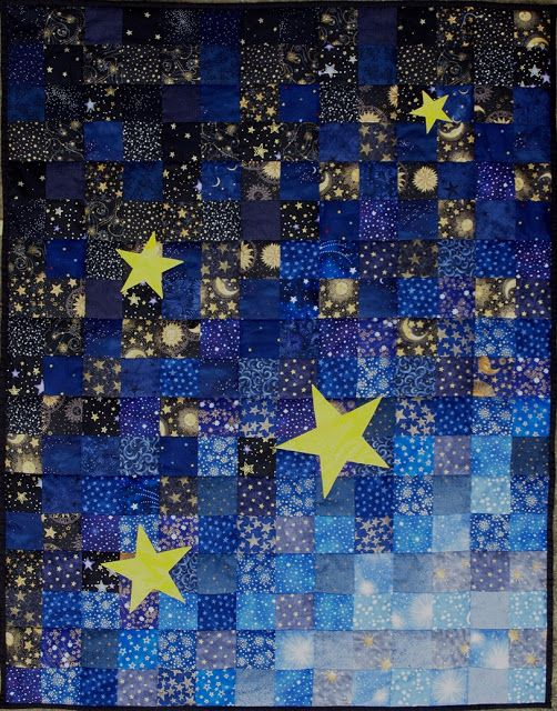 glaxy with 2 1/2 inch strips and many stars Sampaguita Quilts: