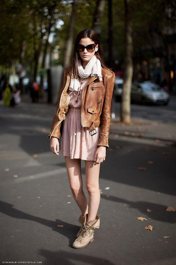 pink dress + leather jacket