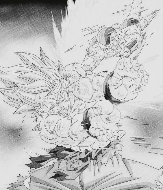 Goku vs Frieza. Drawn by me! Son Goku (Kakarot)! Hope you enjoy!