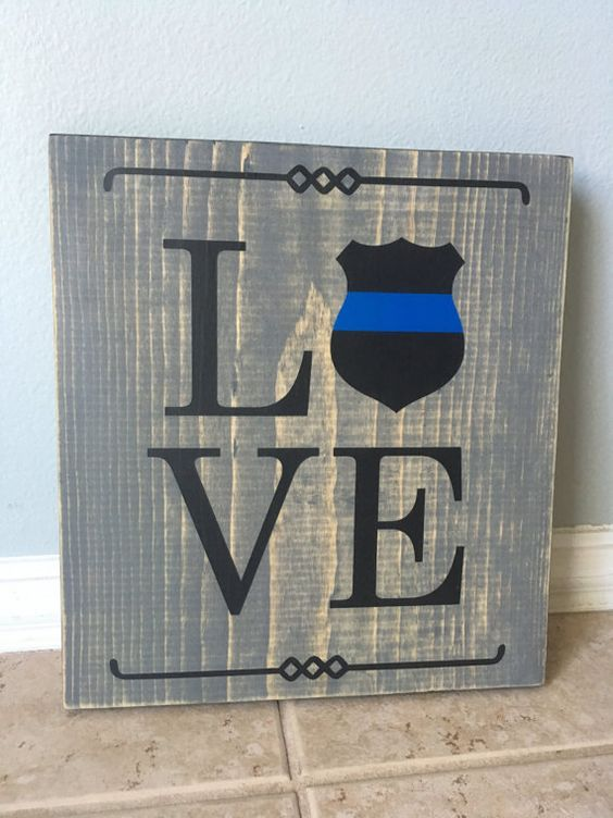 Thin Blue Line Wooden Sign LOVE by 19Crafts on Etsy
