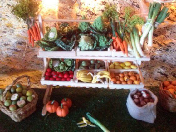 Parada frutas y verduras miniaturas para belen mi - Como hacer verduras salteadas ...
