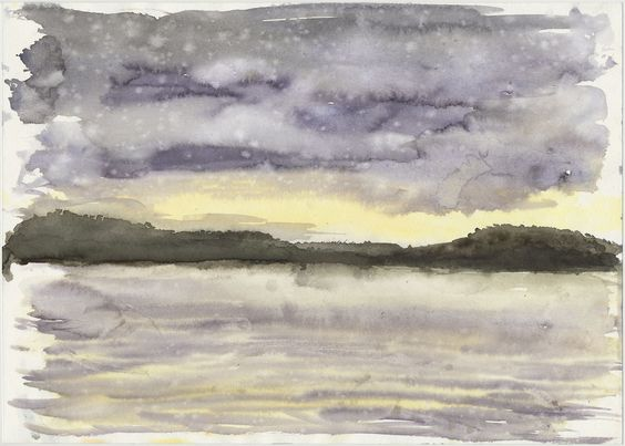 thomaskayser:  Smiths Lake with raindrops 2004 sketchbook, A4