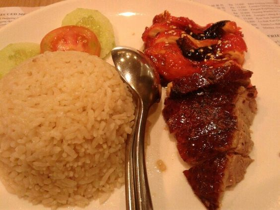 hainam rice with baked duck and chicken with honey sauce