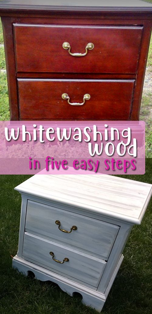 Furniture Transformation Whitewashing Wood In 5 Easy Steps In 2020 Repaint Wood Furniture