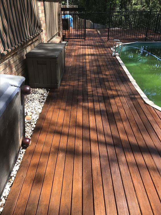 This was a painted deck we striped the paint and oiled it to bring back that natural look.