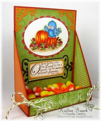 Beautiful Autumn papercrafting idea.  I adore this little bluebird in his pumpkin patch with the appropriate Bible verse.  Thank you to Scrappin Sisters in Christ for posting this.