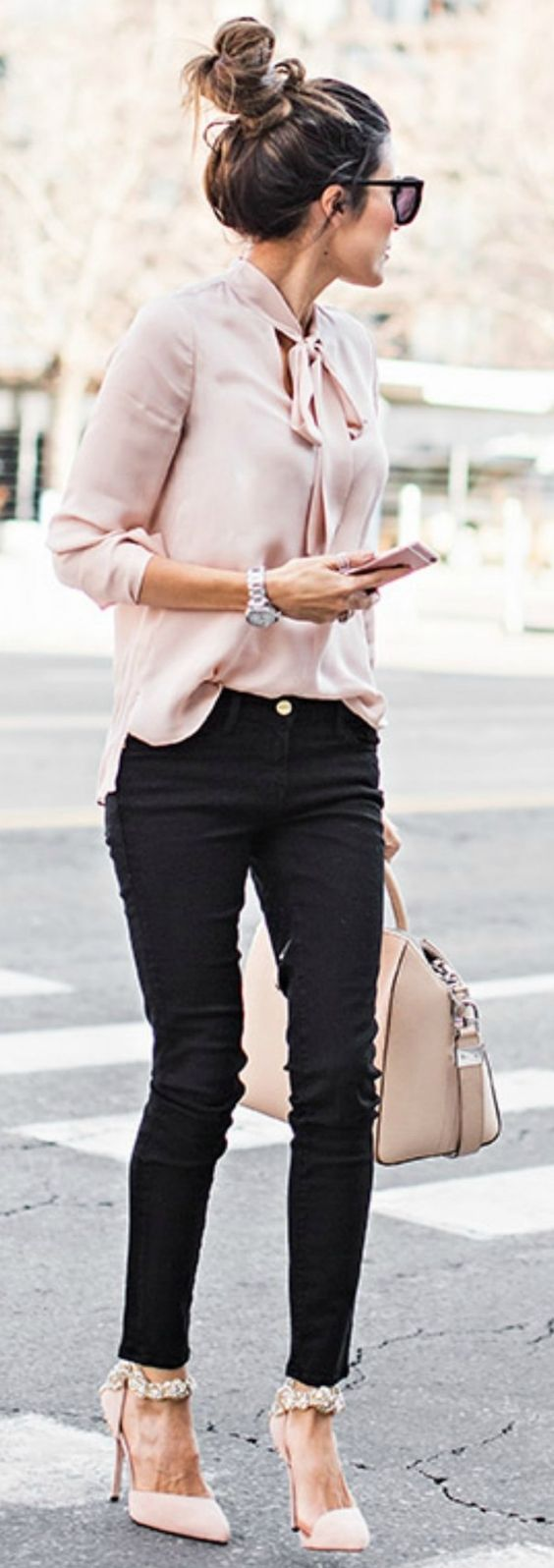 Summer Office Outfit   winter wardrobe blush pink christine andrew gorgeous silky blouse matching heels bag top shopbop jeans nordstrom heels aminah abdul 86
