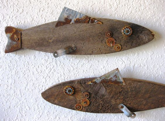 Reclaimed barn wood and salvaged metal found object for Wooden fish wall decor