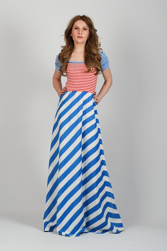 vintage 70s Striped red white blue MAXI Dress XS S graphic ...