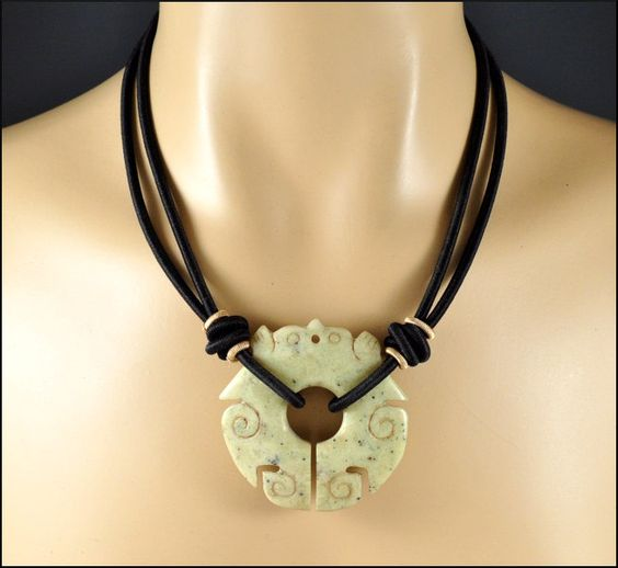 SALE Vintage Carved Jade Necklace Chinese Black Silk Cord Pendant 1960s Statement Jewelry. $75.00, via Etsy.