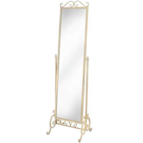 Shabby chic country style cream wrought iron free standing for Free standing bedroom mirrors