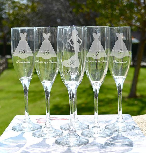 Etched Wine Glasses Wedding Gifts : glasses wedding gifts silhouette champagne mimosas brides maid gifts ...