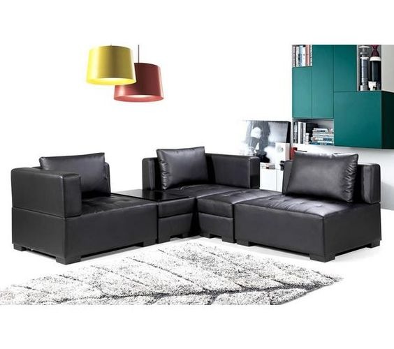 canap modulaire 5 places cuir noir rich prix promo canap. Black Bedroom Furniture Sets. Home Design Ideas