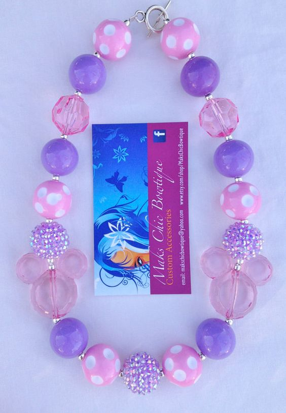 Children's Purple, Light Pink and white polka Mickey mouse inspired chunky necklace by MaksChicBowtique, $18.00
