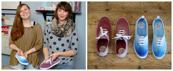 Kostenlose Anleitung: Turnschuhe im Ombre-Look einfärben / free diy project: how to colour your sneaker, trendy ombre look, dip dye via DaWanda.com