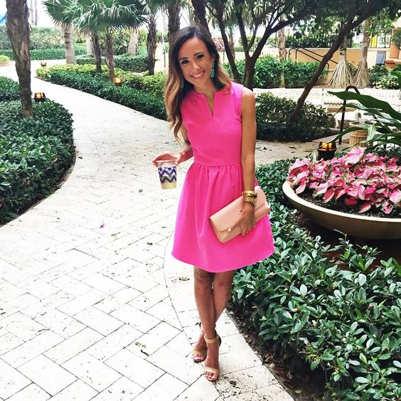 Pink dress with nude wedges