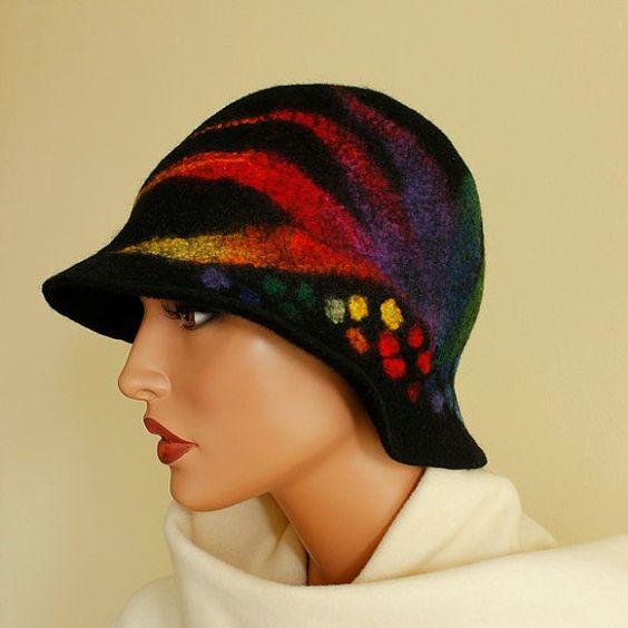 Felt hat black rainbow  multicolor felted hat cloche ♥ by ZiemskaArt
