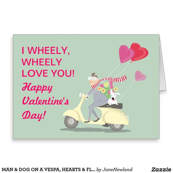 MAN & DOG ON A VESPA, HEARTS & FLOWERS VALENTINE GREETING CARD
