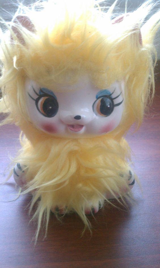 Vintage Bank Yellow Furry Cat
