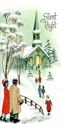Retro African American Christmas Vintage Card 1950s:
