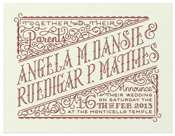 handlettered Rudi & Angela's Invite by Spencer Charles #wedding #typography #lettering