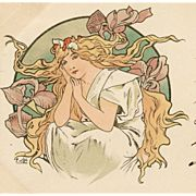 SALE Original 1900 Alphonse Mucha French Postcard of Blonde Woman