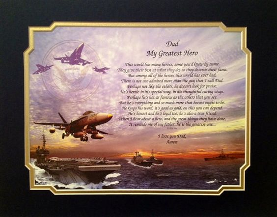 """Navy Gift - Dad Personalized """"My Greatest HERO"""" Sentimental Poem Christmas Veterans Day Father's Day Birthday Military Naval"""