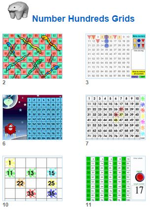 Math Number Hundreds Grids activities for kids and their teachers from Johnnie's Math Page