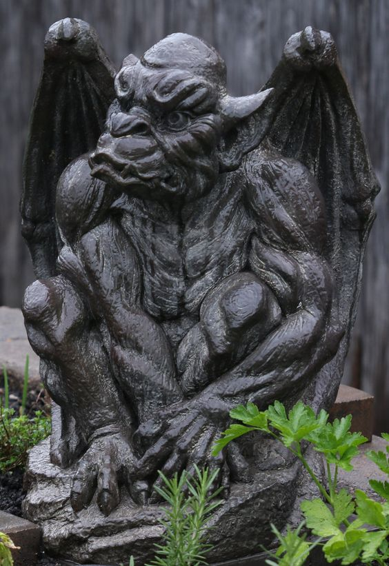 One of my grotesques shot by me in my garden.  It was raining and the light was perfect.  My exposure was bang on and I only cropped the image.