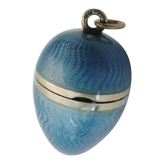 """Antique French Miniature Blue Enamel  Egg Shape Compact """"Mirror  and Feather  Puff"""""""