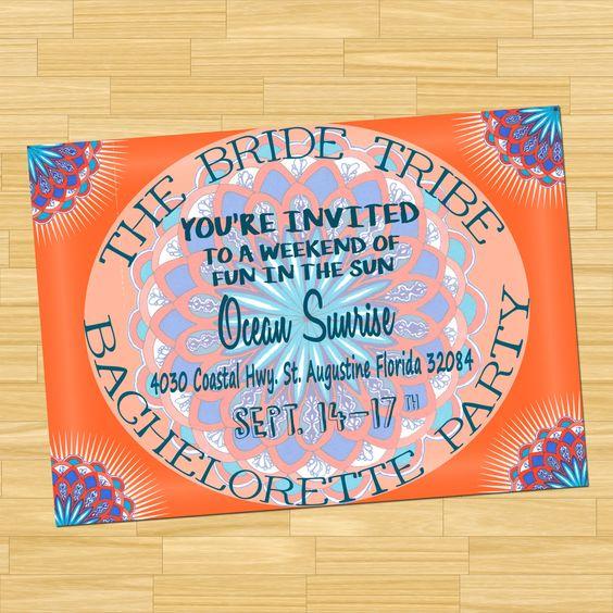 Bachelorette Party Custom Invitation, Custom Invitation, Bohemian ...