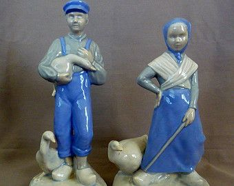 Pair of Dutch Boy and Girl Figurines
