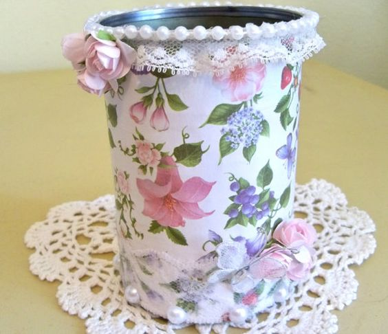 Shabby Chic Decorated Tin Can by SandyMsCraftSupplies on Etsy: