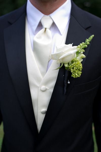 White rose boutonniere - DIY Inspired Connecticut Wedding from Hales Studio