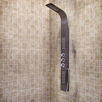 Vigo Industries Shower Column with Rain Head Massage System - Gunmetal