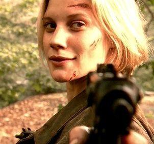 Katie Sackhoff as Starbuck on Battlestar Galactica