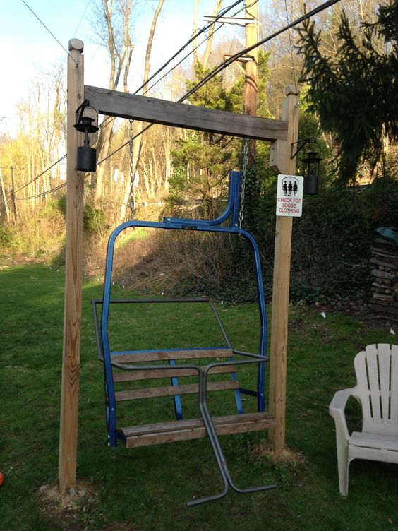 ski lift chair swing using an old double chair frame from a local ski