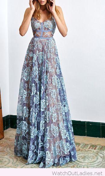 Wonderful long blue floral dress design