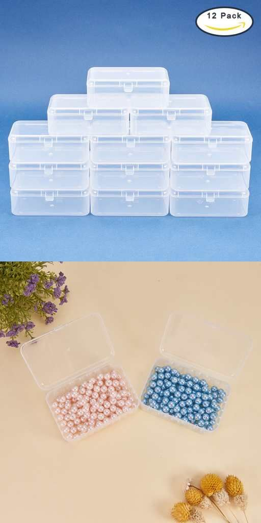 Benecreat 12 Pack 3 5 X2 4 Rectangle Mini Clear Plastic Bead Storage Containers Box Case With Lid For Items Pills Herbs Tiny Bead Jewelry Findings And Oth Bead Storage Plastic Beads Storage Containers