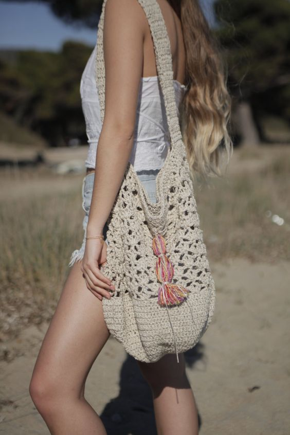 Beach tote, ecru crochet bag, natural summer tote, large crochet bag, boho purse, nude handmade summer bag, festival bag by ThreeBirdsSitting on Etsy